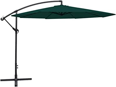 vidaXL Cantilever Umbrella 3.5m Green Outdoor Garden Hanging Parasol Sunshade