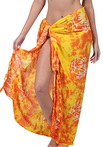 INGEAR Long Batik Print Sarong Womens Swimsuit Wrap Cover Up Pareo (Yellow Palm)