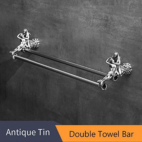 Yungretank Paper Holders Bathroom Accessory Chrome Romantic Bath Hardware Set Bathroom Fitting Towel Ring Toilet Brush Holder MB-0810T Double Towel Bar