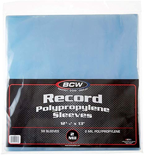 BCW Crystal Clear 2-mil Polypropylene 33 RPM Record Sleeves 12-3/4