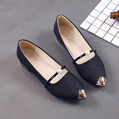 Zapatillas Planas De Tacón Bajo Para Mujer De Moda Puntera Inkach Fashion Negras