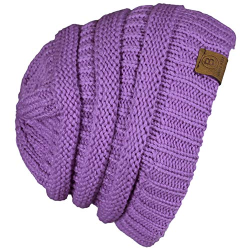 Basico Unisex Adult Warm Chunky Soft Stretch Cable Knit Beanie Cap Hat (101 Lavender)