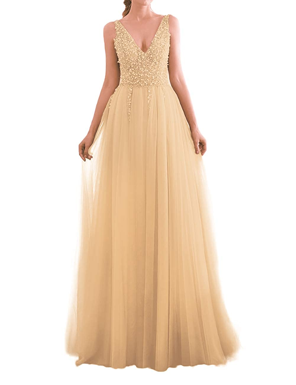 Champagne JAEDEN Prom Dress Long Evening Dresses for Party Tulle V Neck Prom Dresses Evening Gowns