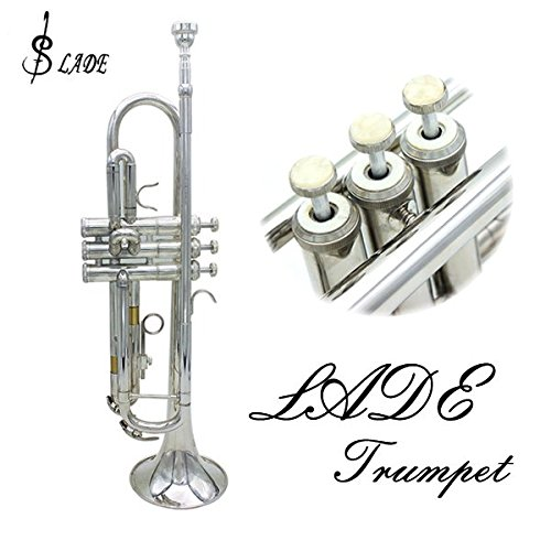 LADE Bb Silver Trumpet Brass Band With Gloves Brush Clean Cloth by SOUND HOUSE 32 (Image #1)