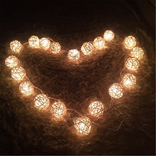 COTW Cream White Handmade Rattan Ball String Lights 20 Leds Battery Operated Warm White Indoor Decoration Wedding Fairy Lights Led Decorative String Lights For Garden Kitchen Bedroom