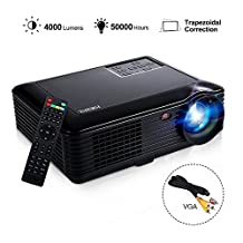 Joyhero SV-228 Full HD 4000 Lumens Home Cinema Projector Support 1080P Home Theater 1280 × 800 Pixels Multimedia Projector for Home Video Games PC Laptop PS4 Xbox and TV (Black)
