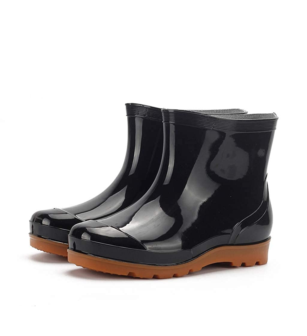 Leisure Mens Flat Low-Heeled Round Toe Shoes Waterproof Middle Tube Rain Boots Pandaie-Mens Shoes