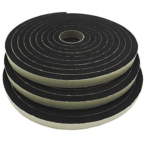 Neoprene Sponge Rubber Foam Tape (1/2in x 3/8in x 50ft) Self Adhesive Weather Stripping Insulation Roll  ()