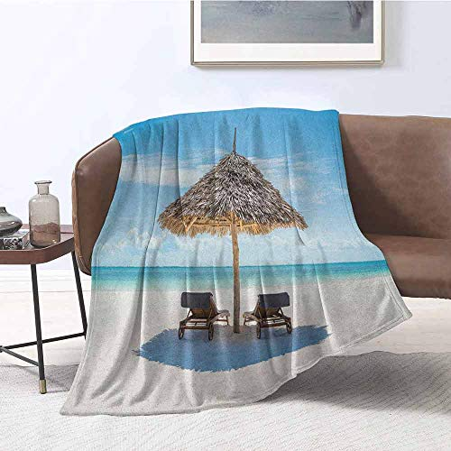 zojihouse Seaside Twin Size Blanket Wooden Sun Loungers Facing Ocean Under a Thatched Umbrella in Zanzibar W55.5xL71 Turquoise Cream (Thatched Umbrellas Sale)