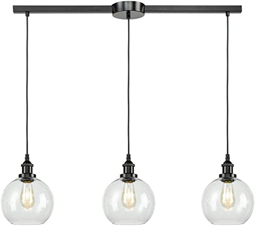 Eul Industrial Kitchen Island Lighting Linear Pendant Lighting Clear Glass Globe Oil Rubbed Bronze 3 Lights Amazon Com
