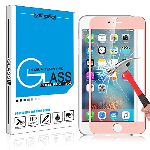 iPhone 6S Screen Protector, Venoro [Full Coverage] Tempered Glass Screen Protector Anti Fingerprint for iPhone 6/6s (Rose Gold)