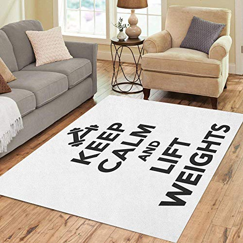 (Pinbeam Area Rug Athlete Keep Calm and Lift Weights Athletic Barbell Home Decor Floor Rug 3' x 5' Carpet)