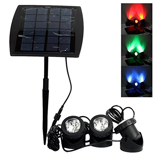 Solar Powered 18 LEDs RGB Color Changing Landscape Spotlight Projection Light Outdoor Security Night Light with 3 Submersible Lamps for Garden Pool Pond Outdoor Decoration & Lighting