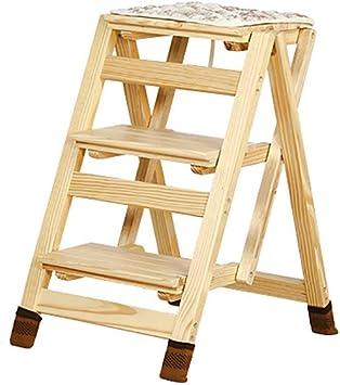 AINIYF Escalera plegable de madera sólida Escalera portátil de tres niveles de tres niveles Escalera portátil Escalera multifunción Taburete Escalera de flores Escalera: Amazon.es: Bricolaje y herramientas