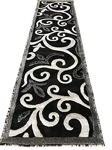 emirates Modern Runner Contemporary Floral Area Rug Black Gray Silver & Grey Design 525 (2 Feet X 7 Feet 2 Inch)
