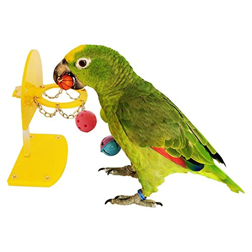 QBLEEV Birds Parrots Puzzle Toys Shooting Basket Training Intelligence Development Bite Bugs Basketball Table Tennis Mini Stand Improvement Toy Yellow