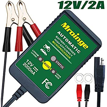 Mroinge 12V 2A Lead Acid/Lithium(LiFePO4) Automatic Trickle Battery Charger Smart Battery Maintainer for Car Motorcycle Lawn Mower Boat ATV SLA AGM ...