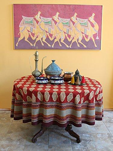 Saffron Marigold 70 Round Spice Route Cotton Tablecloth | Red Orange Moroccan Indian Print Bohemian Table Cover