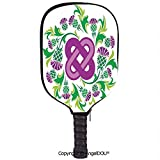AngelDOU Celtic Lightweight Neoprene Durable Pickleball Paddle Cover Eternal Life Symbol Celtic Motif Surrounded with Thistle Flower and Leaves Image Holder Sleeve Case Protector.Purple Green