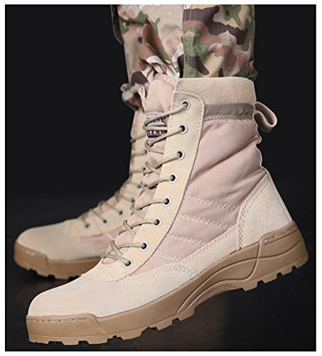 Combat Boots Men High-Top, Lace up Army Shoes Anti-Skid Training Use Military Bootie 2 Colors Size 5.5-9.5