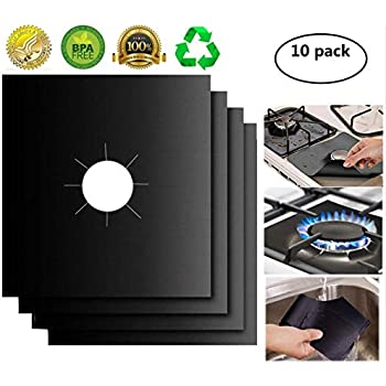 Gas Stove Burner Covers 10 Pack- XZSUN 0.2mm Double Thickness Reusable Gas Range Protectors For Kitchen&Cooking (10.6