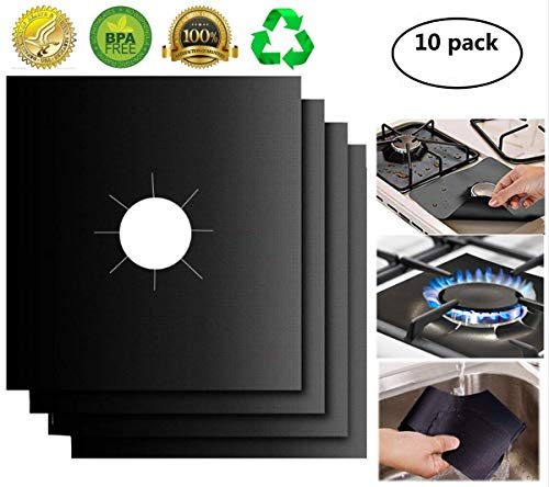 XZSUN Gas Stove Burner Covers 10 Pack 0.2mm Double Thickness Reusable Gas Range Protectors for Kitchen&Cooking (10.6