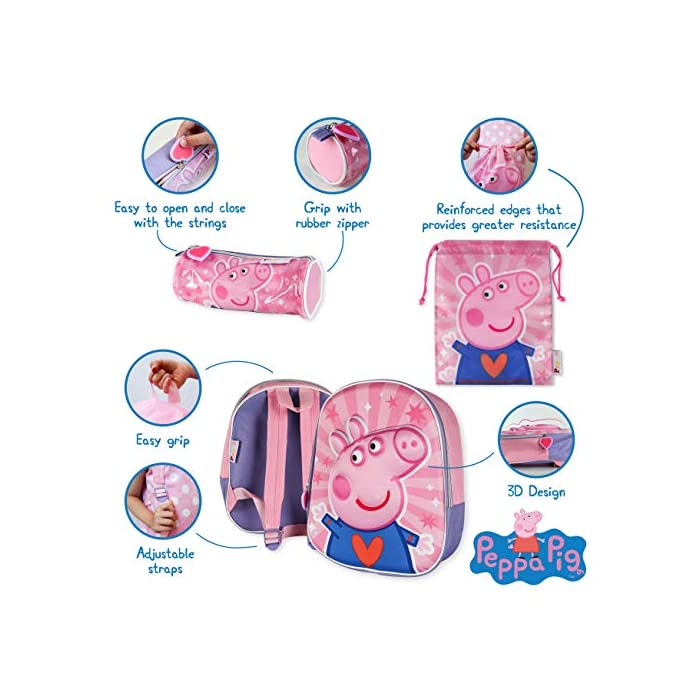 51uFfN3p36L 💗 PACK DE 3 PRODUCTOS ESCOLARES – Ideal para niños y niñas a partir de 3 años. Distintas medidas para diferentes usos a lo largo del día. Mochila escolar con tirantes: 26 x 31 x 10 cm. Bolsa de merienda: 26,5 x 21,5 cm. Estuche escolar: 21,5 x 7,5 x 7,5 cm. Material tela de poliéster resistente y ligero. Todos los productos son fáciles de usar para los niños 💗 MOCHILA ESCOLAR INFANTIL – Parte frontal de la mochila con diseño en 3D de Peppa Pig creando divertidos detalles e impactantes efectos de color. El tamaño es idóneo para niños de 3 a 6 años, para usar en el colegio o actividades extraescolares. Las tiras pueden regularse y ajustarse según la altura del niño 💗 BOLSA PARA MERIENDA – Con cierre de cuerdas a los lados. En color rosa de Peppa Pig. Esta mochila infantil es ideal para meter el almuerzo o merienda de los niños, también se puede usar en parvulario o para guardar juguetes. Su diseño de cuerdas permite que los niños puedan abrir y cerrar la mochila ellos solos
