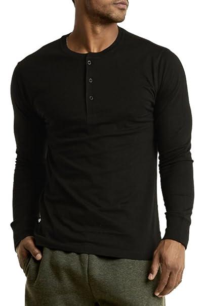 bf1fe6ee4f2 Blue Lemon Men s 100% Cotton Casual Premium Long Sleeve 3-Button Henley  Shirt at Amazon Men s Clothing store
