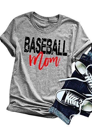 Baseball Mom Womens T-shirt - Amazing speed Women Baseball Mom T-Shirt Tops Short Sleeve Blouse Tees (Gray, XL)