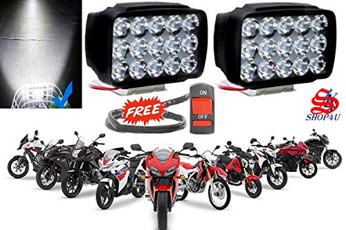 SHOP4U Waterproof 15 LED Fog Light Head Lamp for All Bikes and Scooters (Pack of 2, Free On/Off Switch, White)