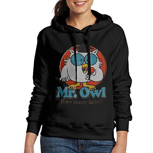 Mr Strong Costume (FALKING Women's Funny Cotton Mr. Owl Hooded Sweatshirt XL Black)