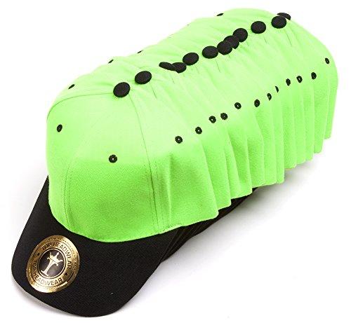 (TOP HEADWEAR 12-Pack Adjustable Baseball Hat - Neon Green/Black)