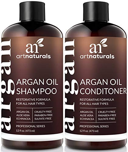(ArtNaturals Organic Moroccan Argan Oil Shampoo and Conditioner Set - (2 x 12 Fl Oz / 355ml) - Sulfate Free - Volumizing & Moisturizing - Gentle on Curly & Color Treated Hair - Infused with Keratin)