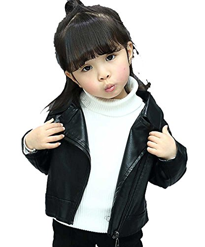 SLLSKY Toddler Girl's Casual Plain Leather Zipper Moto Jackets Black 120/5T by SLLSKY