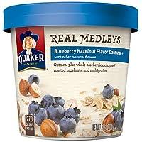 Quaker Real Medleys Oatmeal+, Blueberry Hazelnut, Instant Oatmeal+ Breakfast Cereal, (Pack of 12)