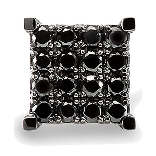 0.87 Carat (ctw) 10k White Gold Black Round Diamond Square Shaped Stud Earring by DazzlingRock Collection