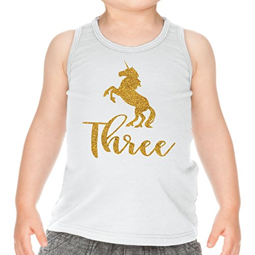 Unicorn Third Birthday Outfit Girl Three Year Old Girl Birthday Tank Top (3T) by Bump and Beyond Designs