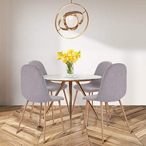 Giantex Dining Side Chairs Set Of 4 Sturdy Metal Legs Wood