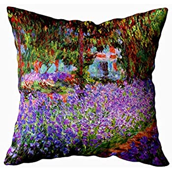 Capsceoll garden the artists garden at giverny by monet Decorative Throw Pillow Case 20X20Inch,Home Decoration Pillowcase Zippered Pillow Covers Cushion Cover with Words for Book Lover Worm Sofa Couch