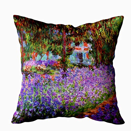 (Capsceoll garden the artists garden at giverny by monet Decorative Throw Pillow Case 20X20Inch,Home Decoration Pillowcase Zippered Pillow Covers Cushion Cover with Words for Book Lover Worm Sofa Couch)
