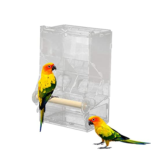 HAMKAW Comedero automático para pájaros, ensuciar, para Jaula con ...