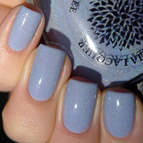- African Violets | Pale Lavender Shimmer & Scattered Holo Finish Nail Polish | by Black Dahlia Lacquer