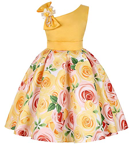 (Little Girls A Line Dresses Kids Christmas Day Gorgeous Vintage Tea Floral Printed Dress)