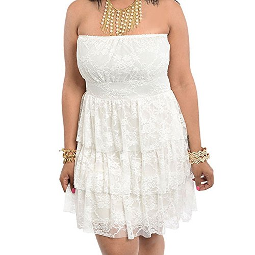 8803 - Plus Size Strapless Tiered Lace Wedding Cocktail Dress Ivory / Black (3X, Ivory)