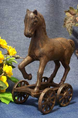 Cast Iron Pull Toy Horse with Wheels - Vintage Cast Iron Toy