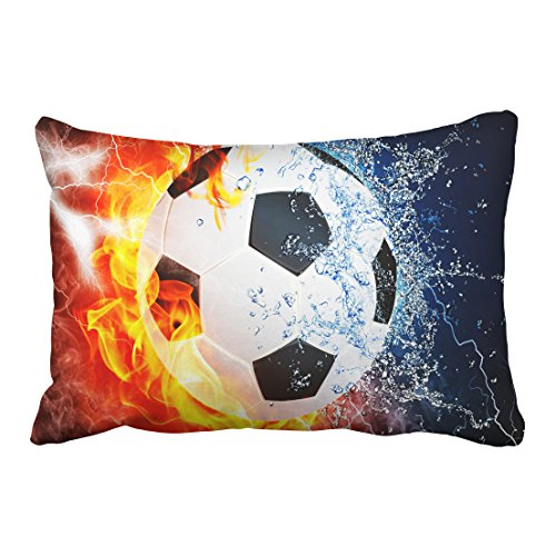 (Emvency Tarolo Decorative Ice and fire can Football Sports soccer center forward halfback Zippered Pillow Cases Covers pillowcase Size 20x30 inches(51x76cm) One Sided)