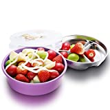 IRmm Top Rated Stainless Steel Salad Bowl,Fruit Bowl,Lunch Box for kids adults,Leak-Proof Food Storage Container (bento-purple(medium))