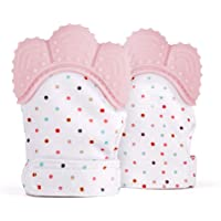 TFHEEY 2 Pieces Baby Teether Glove, Baby Teething Mittens, Flexible Silicone, BPA FREE, Relieve Gum Pain, Massage Gums…