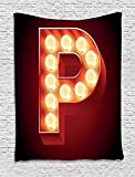 XHFITCLtd Letter P Tapestry, Vibrant P Letter Party Theater Name Initials Club Show Business Theme, Wall Hanging for Bedroom Living Room Dorm, 60 W X 80 L Inches, Vermilion Yellow Black