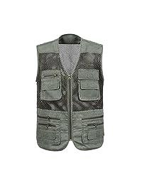 MonkeyJack Men Utility Multi-Pocket Safari Fly Fishing Hunting Photo Travel Vest Jacket